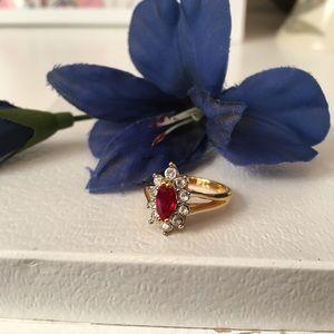Ruby & Diamond Rhinestone 18K Gold Plated Ring, 5